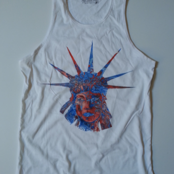 Lady Liberty white unisex tank top